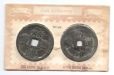 Viet Nan Annam Lot of 2 50mm Cash Coins / Tokens in Holder