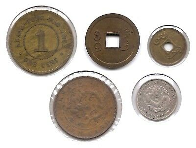 China Kwangtung Lot of 5 Coins 1890 - 1915 1 & 10 Cash, 1 Cent & Silver 10 Cents