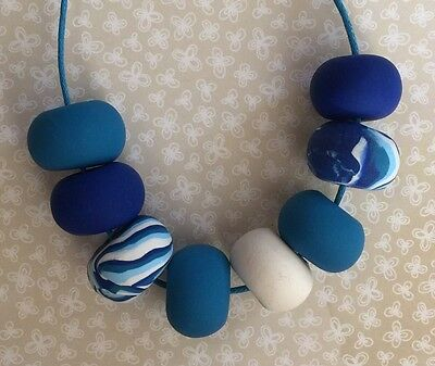 Funky Handmade Blue Cobalt & White Bead Statement Polymer Clay Necklace. NEW