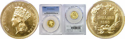 1880 $3 Gold Coin PCGS MS-62