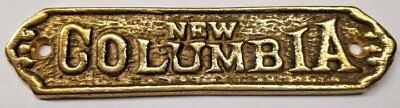 New Columbia Cast Brass Ice box Name plate antique vintage old retro