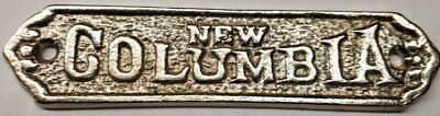 Nickel New Columbia Cast Brass Ice box Name plate antique vintage old retro