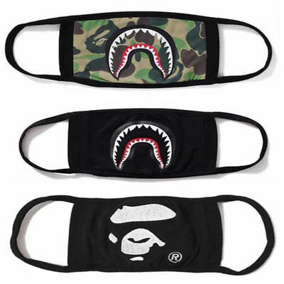 3× Bathing Ape Bape Shark Black Face Mask Camouflage Mouth-muffle Anti Fog