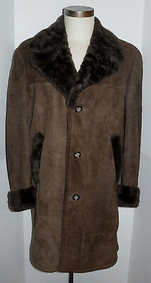 Classic Mens Shearling Sheepskin Leather Coat! Brown! Thick Fur! Button Front 38