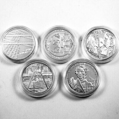 Germania 5 x Monete commemorative Set Set 2003 PP Argento Proof sciolto Capsula