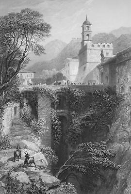 ITALY Eastern Gate of Sorrento - 1864 Fine Quality Print Engraving