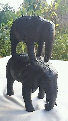 Two Solid Cast Metal Elephants