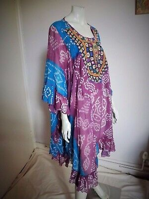 Vintage 70s Indian Gauze Cotton Hand Print Dress w Mirror Work Bodice Panel S/M