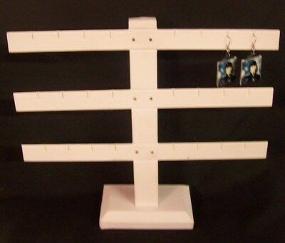 Jewelry Display Fixtures NEW TRIPLE-BAR EARRING DISPLAY HOLDS 12 PAIR WHITE