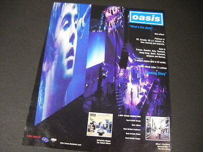 OASIS Hyped Up 1996 PROMO POSTER AD touting band success WHAT'S THE STORY mint