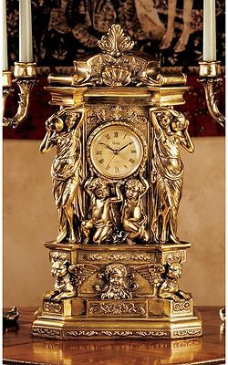 "Ornate Classic Greek Replica 20"" Mantel Clock Antique Gold Finish Table Clocks"