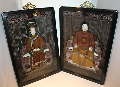 Chinese Ancestor Emperor & Empress Reverse Painted on Glass Portraits