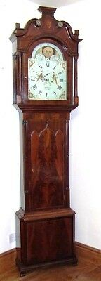 Antique Mahogany Rolling Moon Longcase Grandfather Clock THOMAS HOLMES CHEADLE