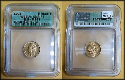 1904 Russia 5 Rouble GOLD ICG MS 67