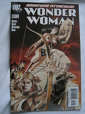 WONDER WOMAN  # 223 by RUCKA, RAGS & RICHARDS. GREAT COVER! DC. 2006
