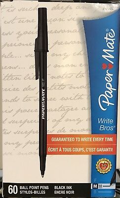 Brand New Box Paper Mate Write Bros Ball Point Pens, Black, 60 Count! Free Ship!