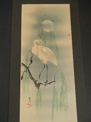 ANTIQUE JAPANESE STYLE WATERCOLOR PAINTING Signed SWAN