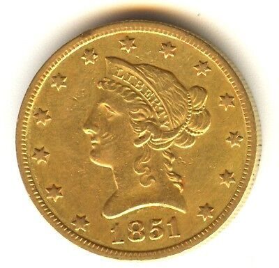 1851 O $10 Liberty Gold AU In Grade Gold Type Coin New Orleans Mint No Motto