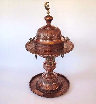 Antique Syrian/turkish Hand-Crafted Copper Brazier /cooker/heater/incense Burner
