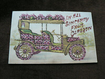 Vintage 1907 Glitter Postcard, Sincerity from Glasgow, Car with Glitter Flowers