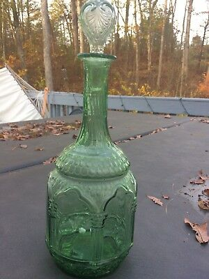 Scarce Pristine Gorgeous Pontiled Green Ornate Cathedral Decanter 1840 Bottle.