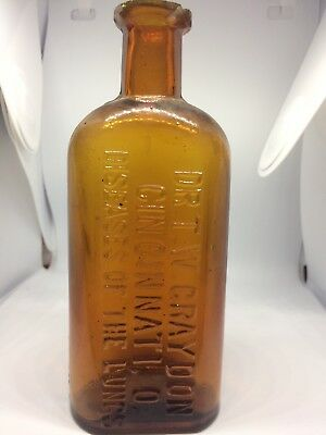 Honey Amber 1800S Quack Bottle Dr T W Graydon Cincinnati O Diseases Of The Lungs