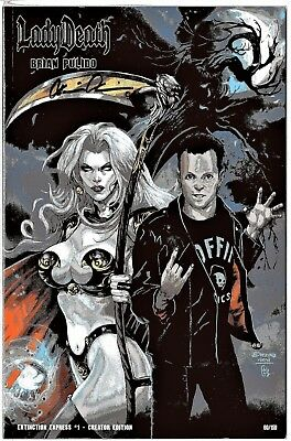 Lady Death Extinction Express 1 CREATOR edition sign Pulido COA FREE UK POST NM