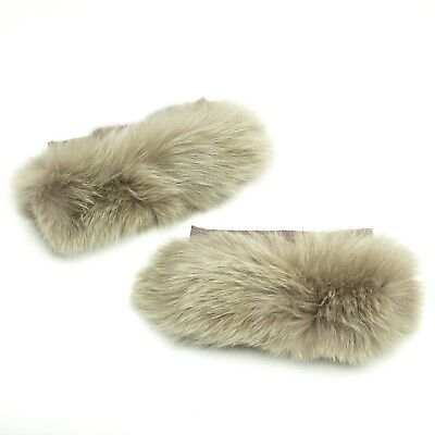 MAX MARA Women's Susanna Brown Fox Fur Cube Collection Cuffs OS $425 NWT