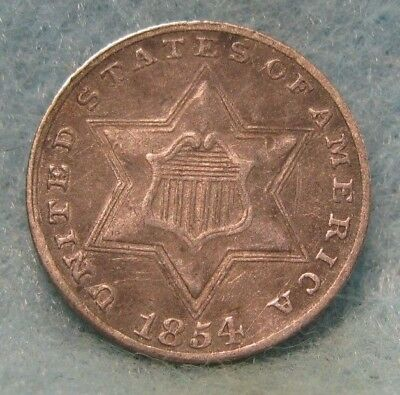 1854 Three Cent Silver VF-XF * Circulated US Coin *