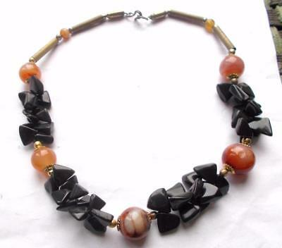 Vintage 1970's Obsidan Agate & Carnelian Black & Amber Tone Necklace Beads