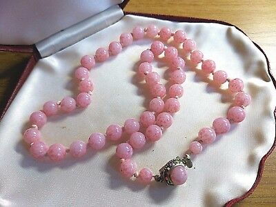 Vintage Jewellery Lovely rose pink Peking Glass Art Deco 1930's bead necklace