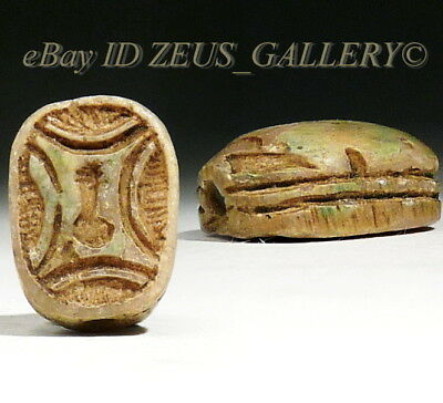 Ancient EGYPTIAN SCARAB Inscribed w/ nefer Hieroglyph Green Stone Amulet 1550 BC