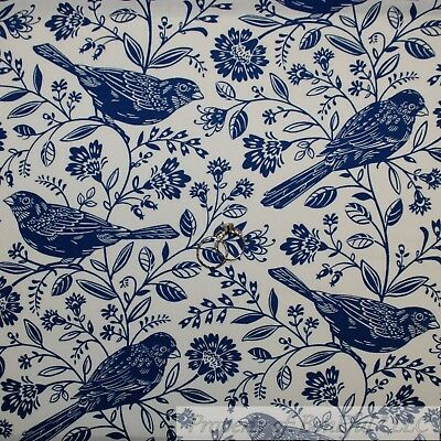 BonEful Fabric FQ Cotton Quilt VTG White Blue Spring Robin Bird Flower Toile Dot