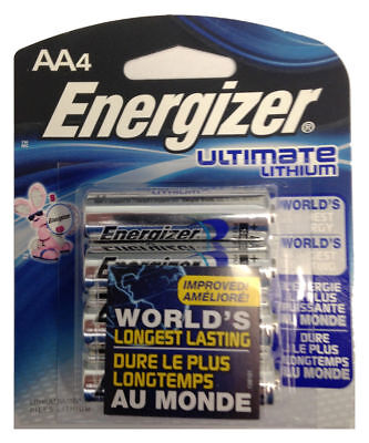 4 AA Energizer Ultimate Lithium Batteries Lasts 9 x Longer L91BP-4 Exp 2036 1.5v