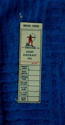 Book Of 10 Unused Archer Chief Aircraft Oil Change Tags Native American Logo