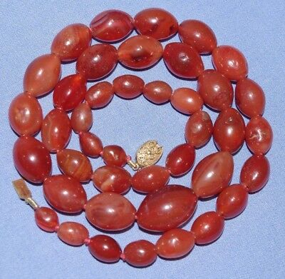 Magnificent Vintage Chinese Carved Carnelian Bead Necklace with Silver Clasp