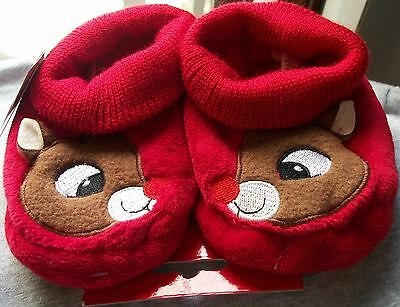 Toddler Slippers sz3-4 HOLIDAY TIME Red Rudolph 50Yrs Christmas Classic NWT