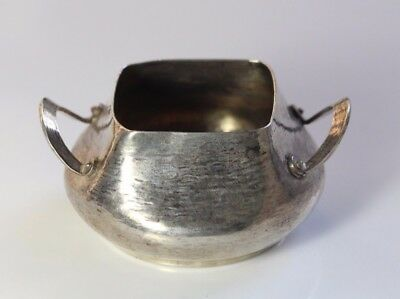 Antique c1900 Arts & Crafts Duhme Co Textured Wrought Sterling Silver Sugar Bowl