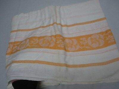 """VINTAGE WHITE COTTON TABLECLOTH w ORANGE SIDE BORDERS with PANSY FLOWERS 58x116"""""""