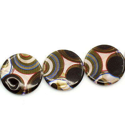 5 Enfilade Perles Coquillage Rond Multicolore 30mm Dia. B26779