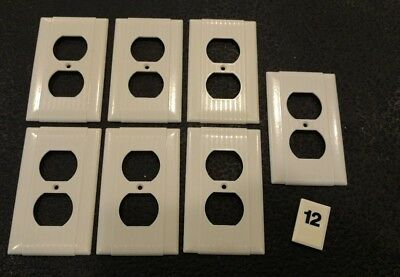 7 Ivory Vtg Bakelite Ribbed Deco Single Gang Uniline Outlet Plate Covers B12