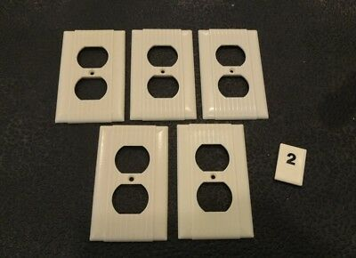 5 Ivory Vtg Bakelite Ribbed Deco Single Gang Uniline Outlet Plate Covers B2