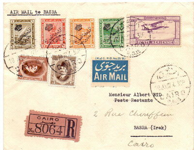 Egypt 1927 First Flight Cover To Basra Multi-Franked