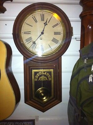 Vintage Regulator Wall Chime Clock for Decor, Wooden Case, w Key
