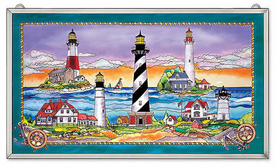 "Amia Stained Glass East Coast Lighthouse 23"" X 13"" Window Panel #9768"