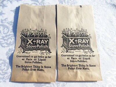X-RAY STOVE POLISH - IMPS DEVILS DANCING on STOVE - 2 PAPER BAG SACK c.1900 NOS
