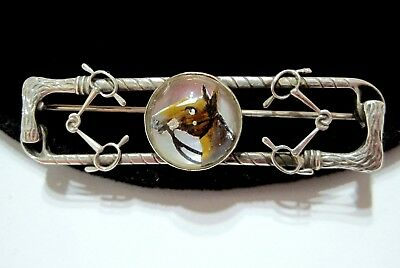 AMCO Vtg ART DECO Essex Crystal REVERSE PAINTED Horse & Polo Theme STERLING PIN