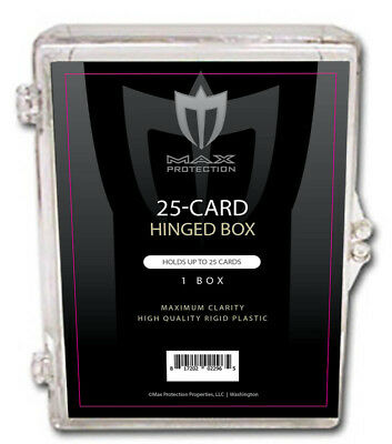 100 - 25ct Count Max Pro Card Hinged Ultra Clear Plastic Boxes Card Holders