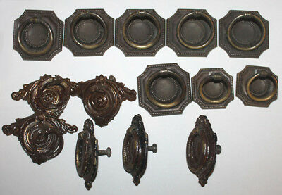 14x Vintage Metal Knocker Drawer Pulls & Handles Ornate Square Working