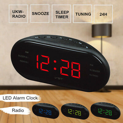LED Display Digitale AM/FM Radio Sveglia Snooze Desktop Desk Timer 24 Hours